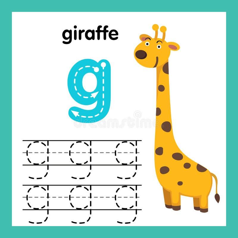AlfabetG-övning med tecknad filmordlista vektor illustrationer