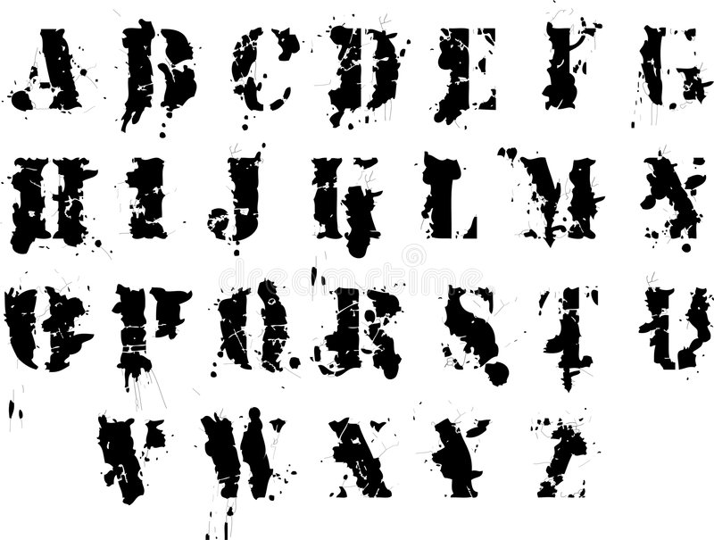 alfabetgrunge royaltyfri illustrationer