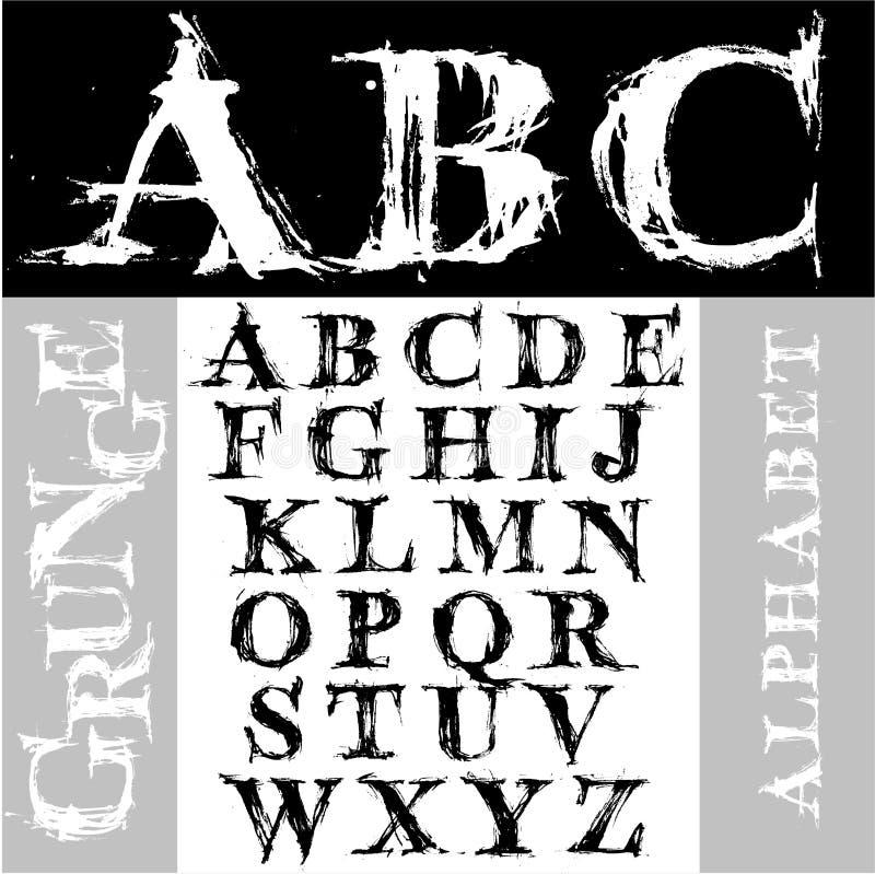 alfabetgrunge vektor illustrationer