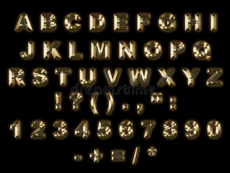 alfabetguld royaltyfri illustrationer