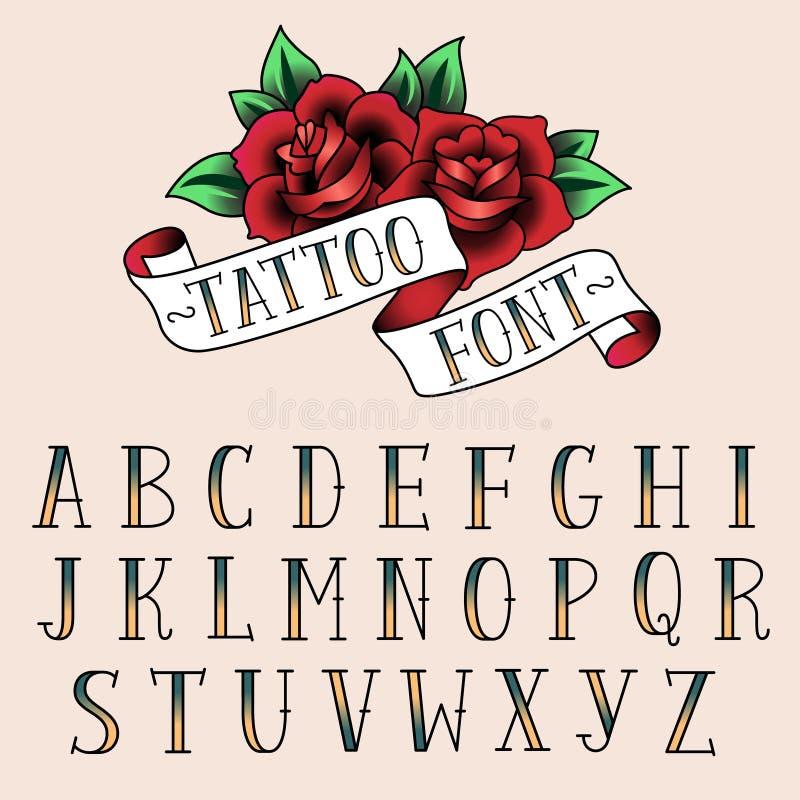 Alfabeth del estilo del tatuaje stock de ilustración