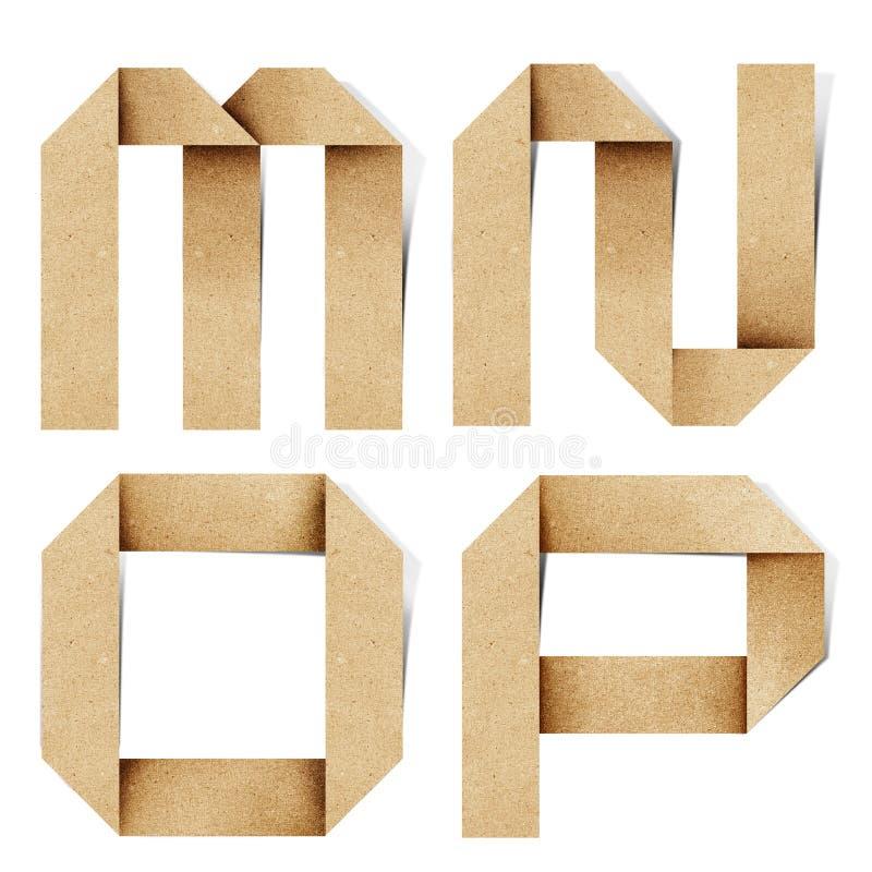 alfabethantverket letters återanvänt origamipapper royaltyfri foto