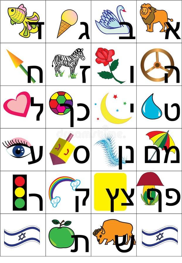 alfabethebré stock illustrationer