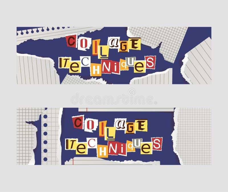 Alfabetisk collageuppsättning av banervektorillustrationen Ord klippte ut vid sax från färgrikt papper Stycken av royaltyfri illustrationer