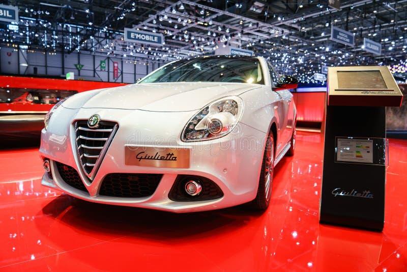 Alfabetisk Romeo Giulietta, motorisk show Geneve 2015 fotografering för bildbyråer
