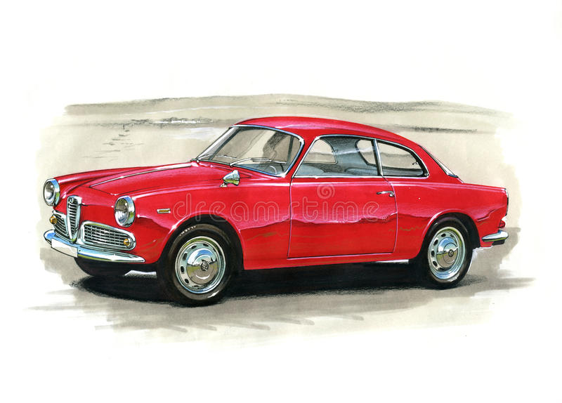 Alfabetisk Romeo Guilietta Sprint 1966 vektor illustrationer