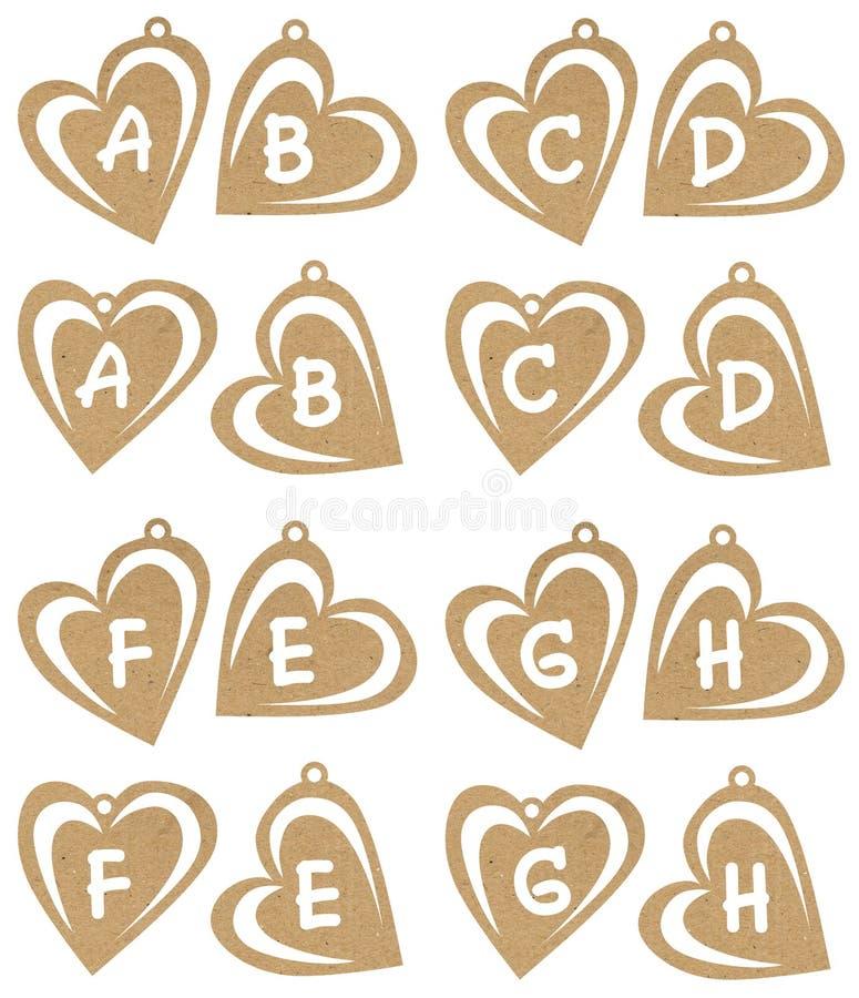 alfabetiskhjärta stock illustrationer