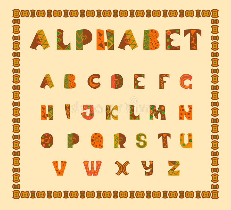Alfabetiskt i etniskt afrikanskt beslut stock illustrationer