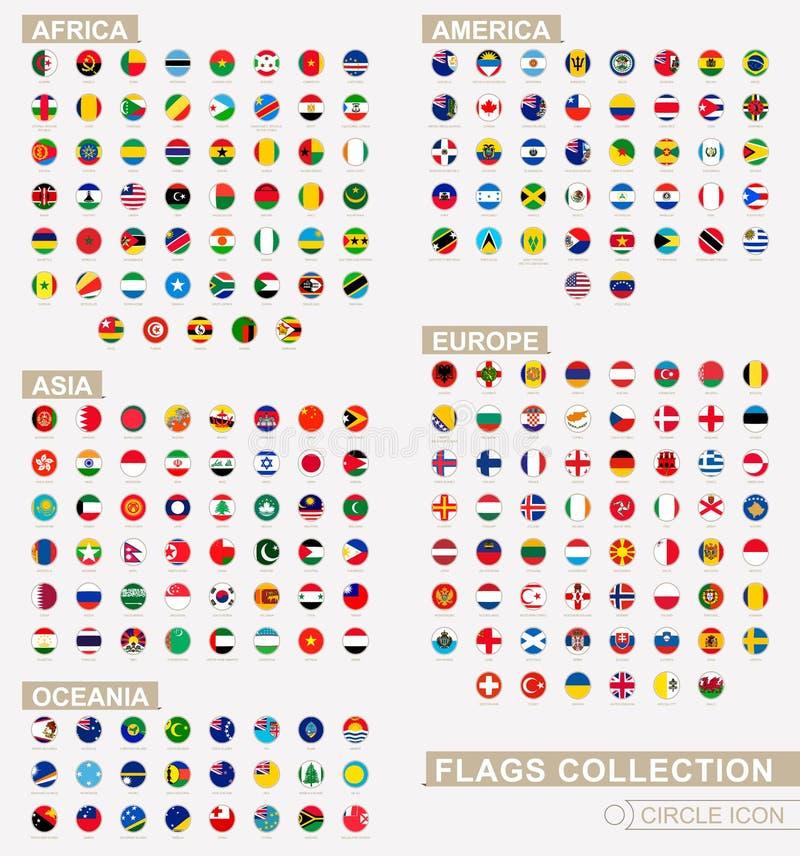 Alfabetiskt sorterade cirkelflaggor av världen Uppsättning av runda flaggor stock illustrationer
