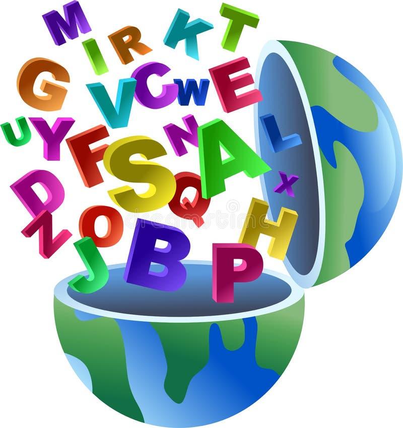 alfabetjordklot stock illustrationer