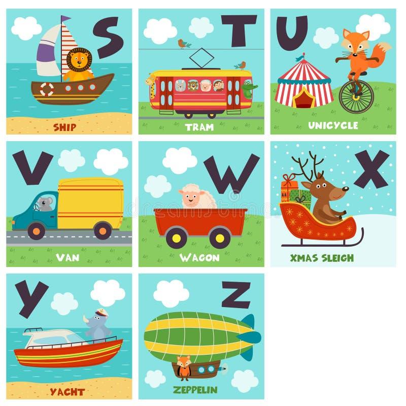 Alfabetkaart met vervoer en dieren S aan Z stock illustratie