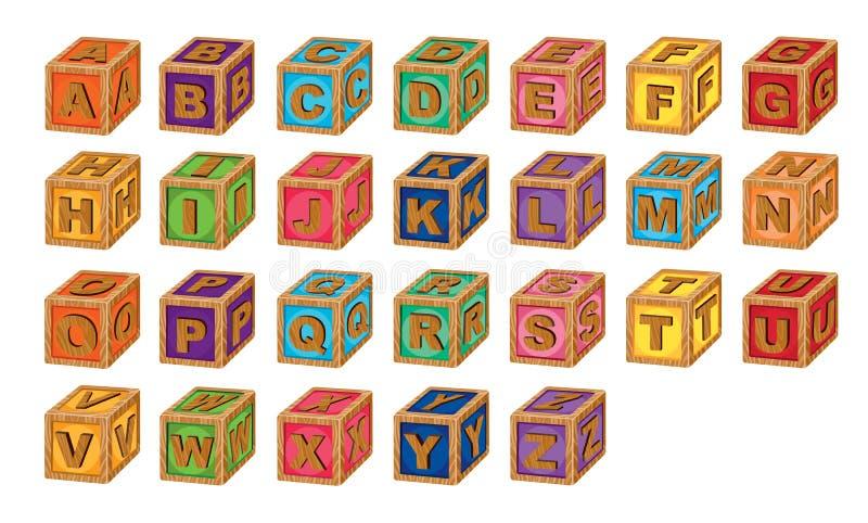 Alfabetkuber royaltyfri illustrationer