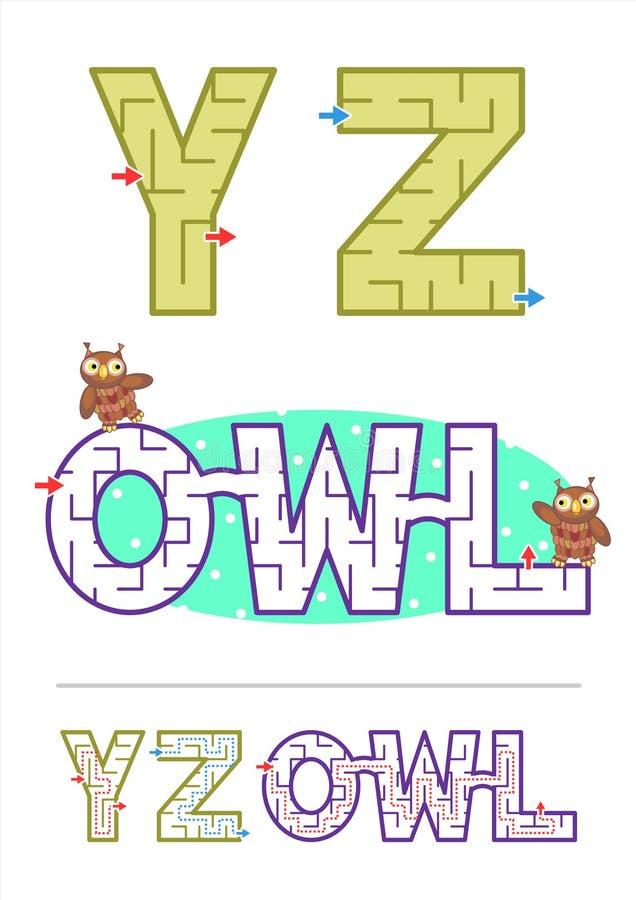 Alfabetlabyrint spelar den y-, z- och ordlabyrintUGGLAN royaltyfri illustrationer