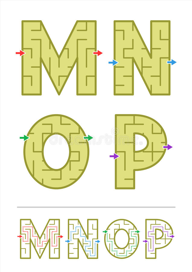 Alfabetlabyrint spelar M, N, nolla, P stock illustrationer
