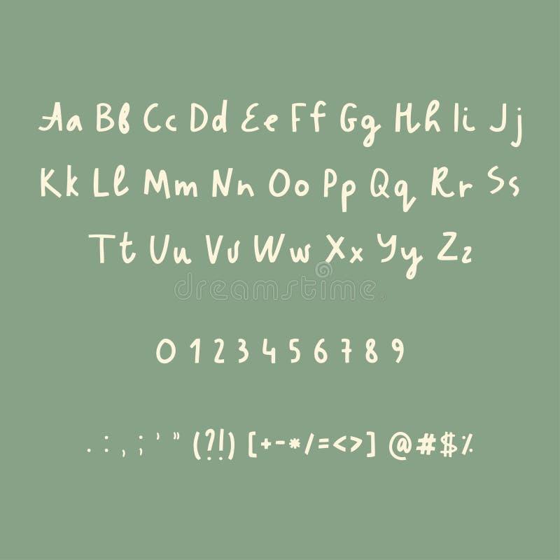 Alfabetnummer och skiljetecken för hand utdragna Lantlig stilsort Vektorabc stock illustrationer