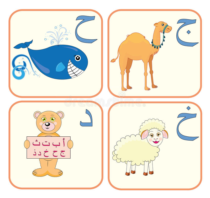 Alfabeto árabe para los cabritos ilustración del vector