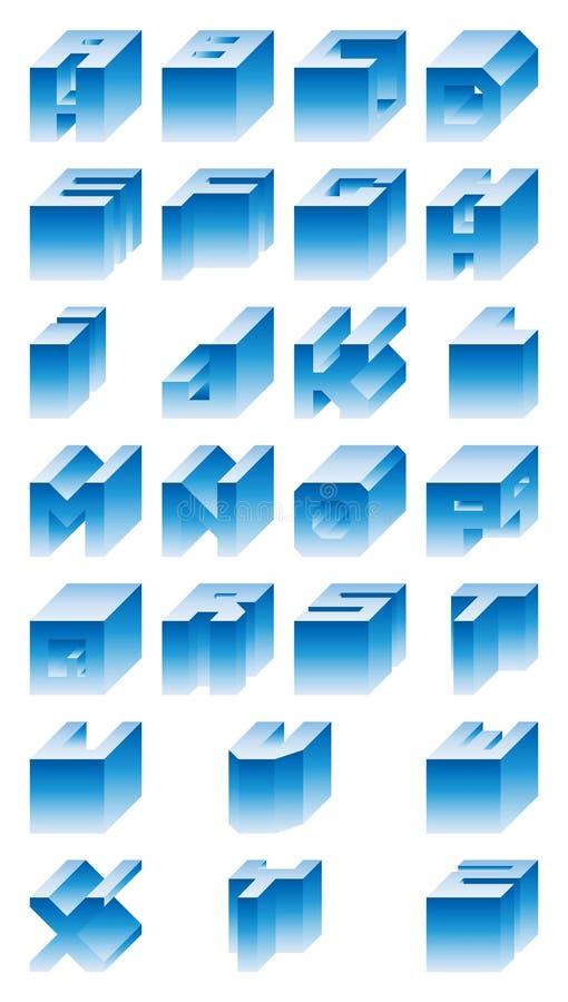 alfabeto 3D stock de ilustración