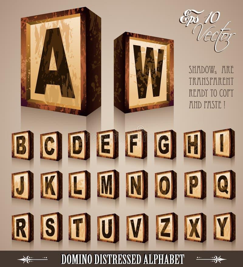 Alfabeto 3D del estilo del dominó de la vendimia stock de ilustración