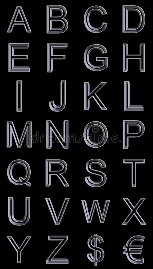 Alfabeto 3d del estilo del metal libre illustration