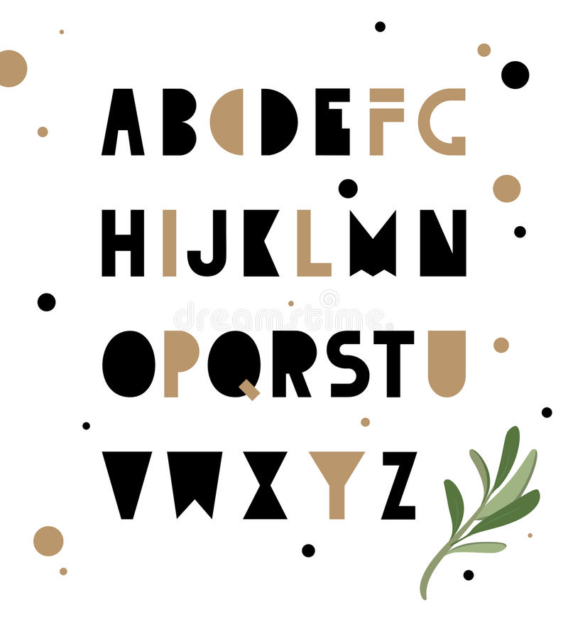 Alfabeto abstracto de la geometría Inconformista ilustración del vector