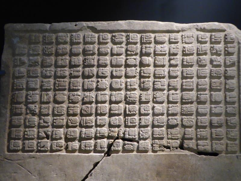 Alfabeto acient da arte do Maya de México da escrita mayian fotos de stock royalty free