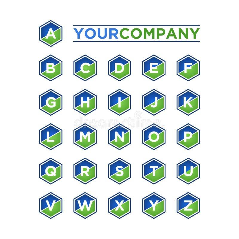 Alfabeto ajustado no hexágono ilustração royalty free