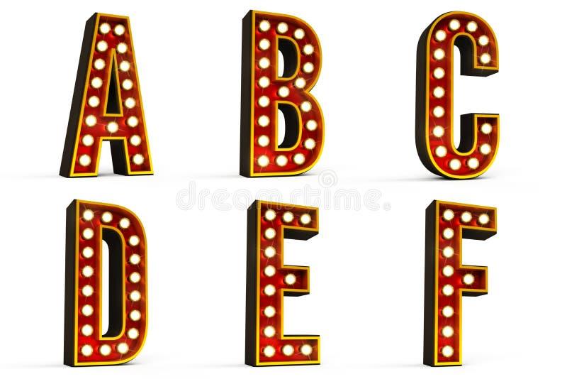 Alfabeto ajustado - parte 1 ilustração stock