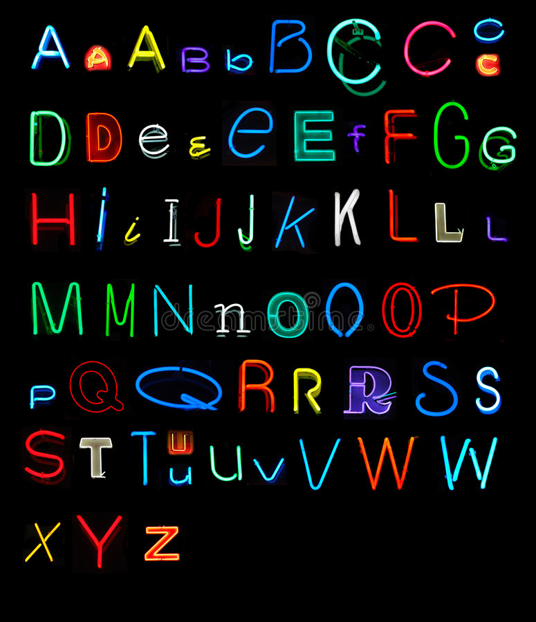 Alfabeto al neon fotografia stock libera da diritti