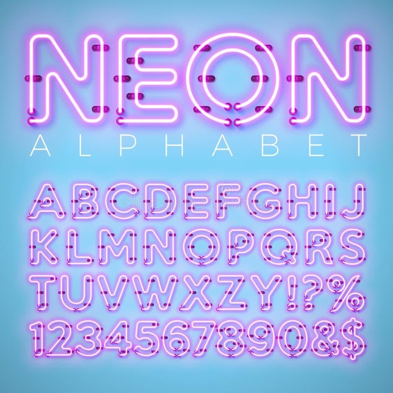Alfabeto al neon luminoso su fondo blu Lettera, numero e simbolo di vettore con effetto brillante di incandescenza stratificato s illustrazione di stock