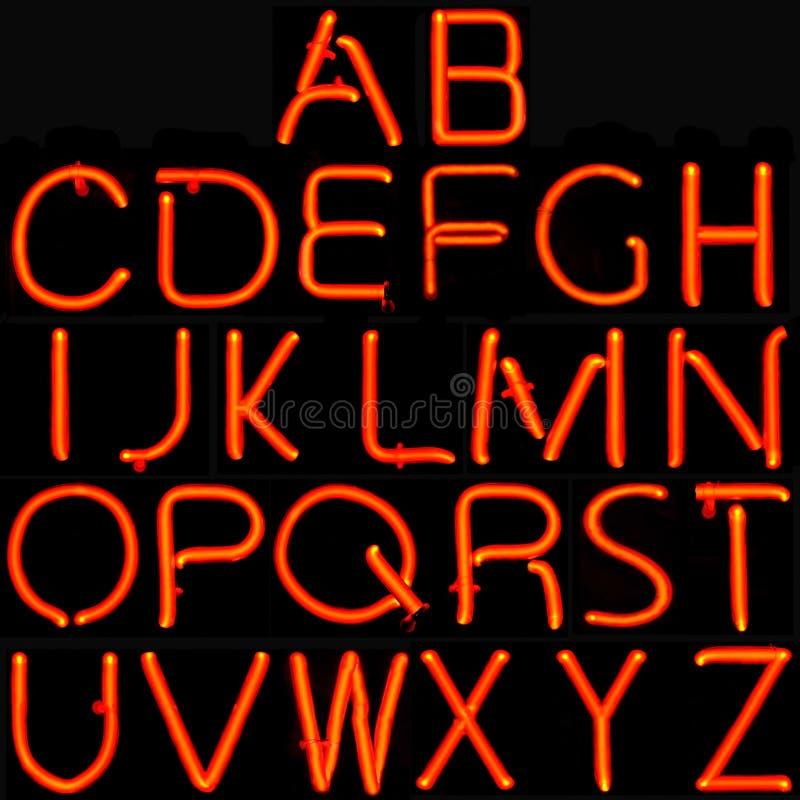 Alfabeto al neon rosso fotografia stock