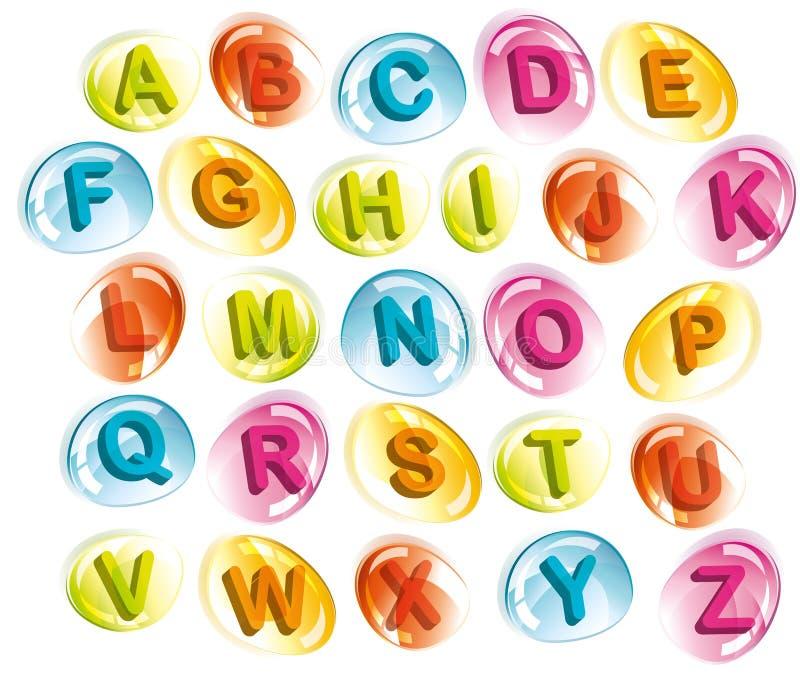 Alfabeto alegre en gotas coloridas ilustración del vector