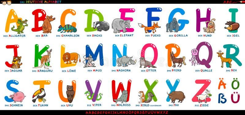 Alfabeto alemán con los animales de la historieta fijados libre illustration