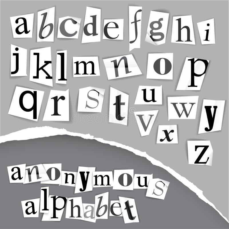 Alfabeto anónimo hecho de los periódicos ilustración del vector