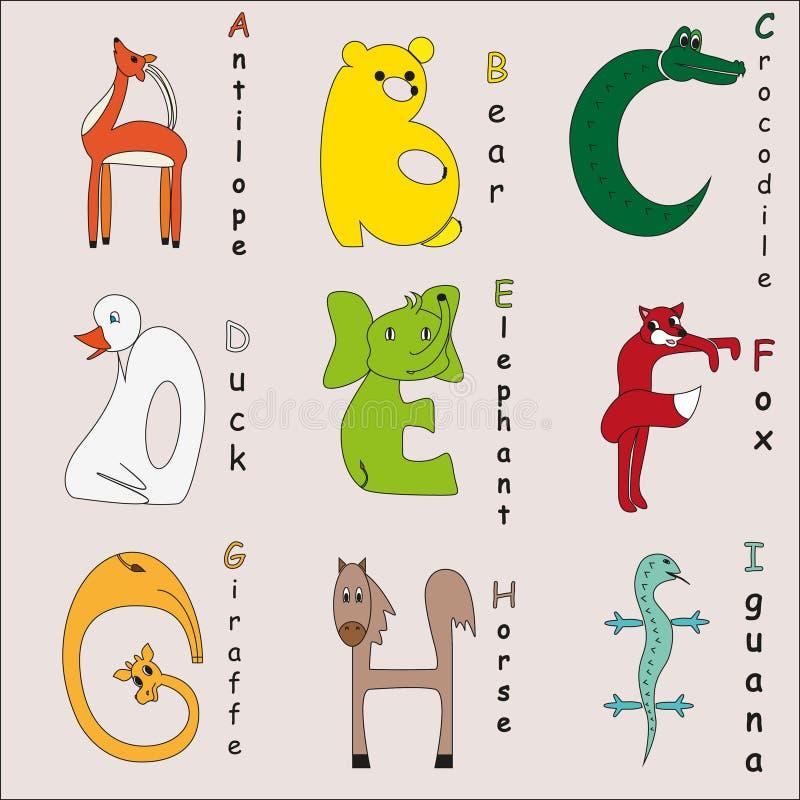 Alfabeto animal fotos de archivo