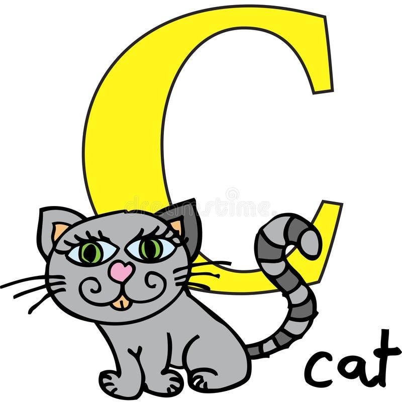 Alfabeto animal C (gato) ilustración del vector. Ilustración de ...