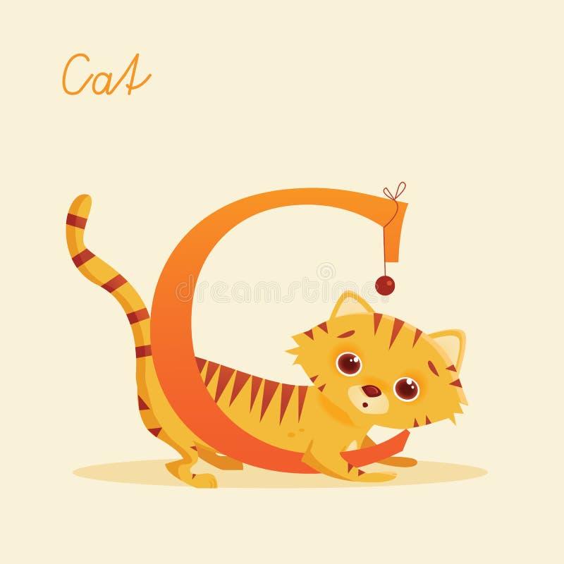 Alfabeto animal com gato ilustração royalty free