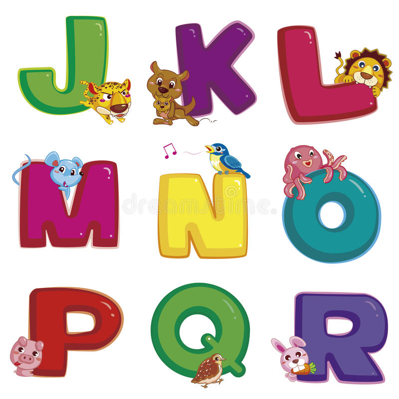 Alfabeto animal J a R ilustração stock