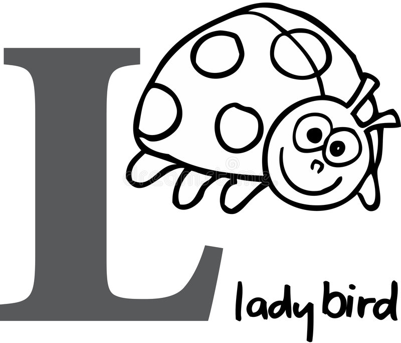Alfabeto animal L (joaninha) ilustração royalty free