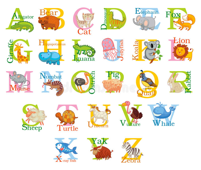 Alfabeto animal lindo libre illustration