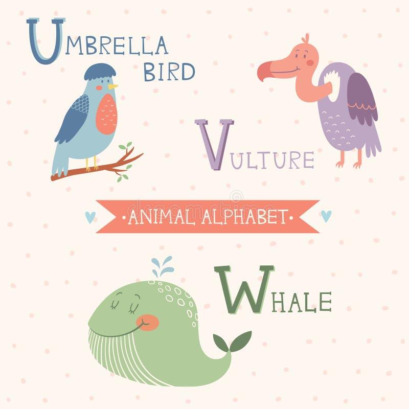Alfabeto animal Pássaro de guarda-chuva, abutre, baleia Parte 6 ilustração royalty free