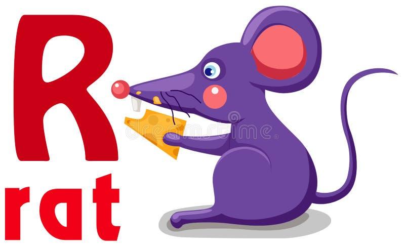 Alfabeto animal R stock de ilustración