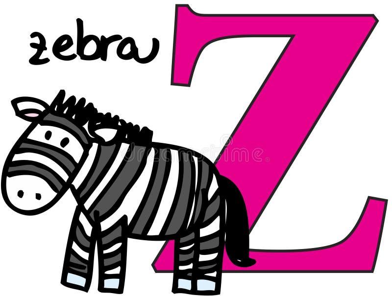 Alfabeto animal Z (zebra) ilustração royalty free