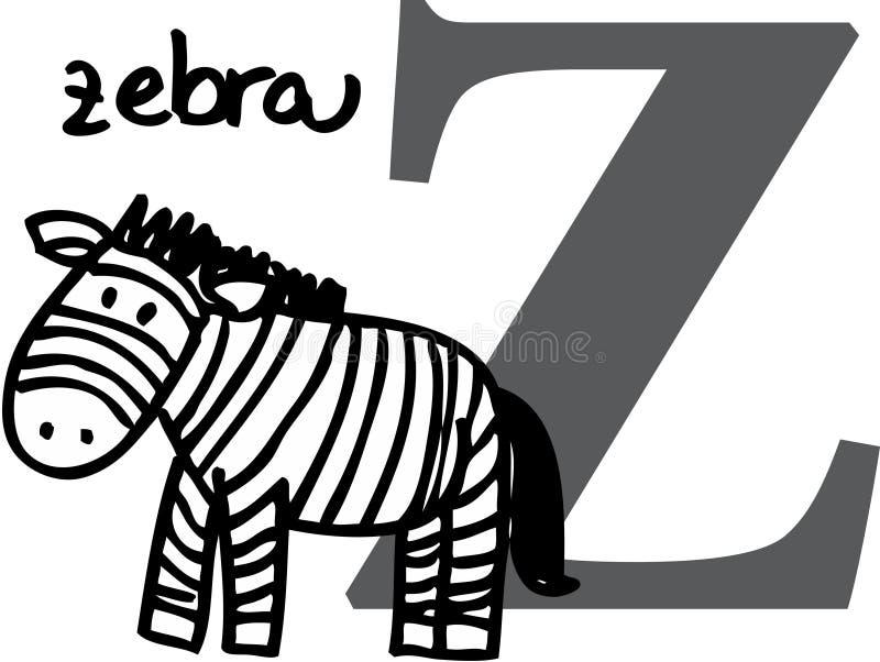 Alfabeto animal Z (zebra) ilustração stock