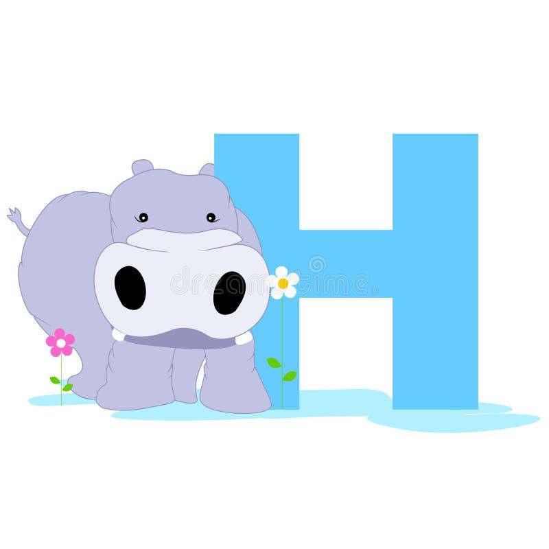 Alfabeto animale H illustrazione di stock