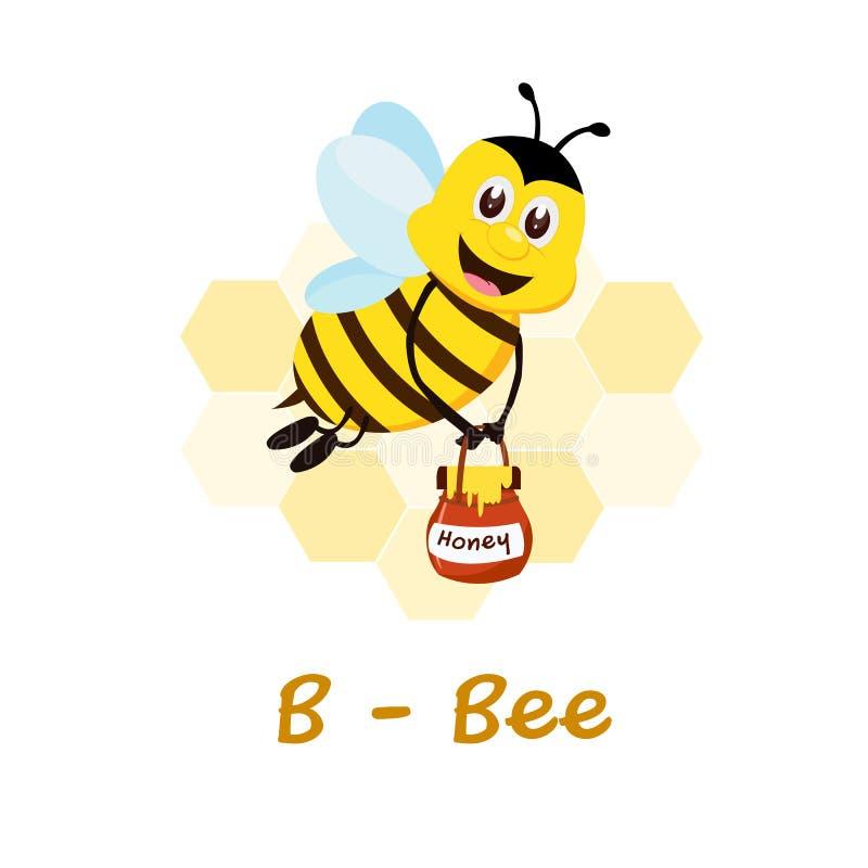 Alfabeto animale isolato per i bambini, B per l'ape illustrazione di stock