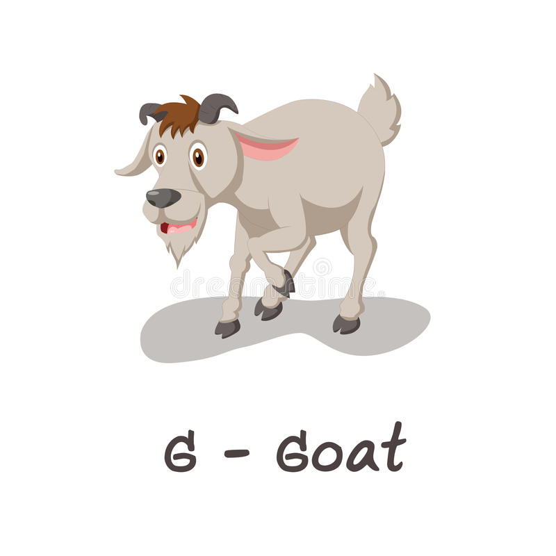 Alfabeto animale isolato per i bambini, G per la capra royalty illustrazione gratis