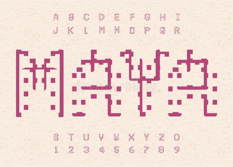 Alfabeto antigo do maya Molde velho jeroglífico das letras Alfabeto asteca ilustração do vetor
