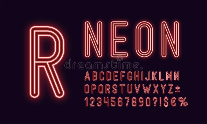 Alfabeto arredondado de néon, cor vermelha Fonte esboçada ilustração stock