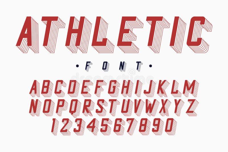 Alfabeto atlético da fonte, do time do colégio e da faculdade Letras e números originais para o sportswear, t-shirt, logotipo da  ilustração stock