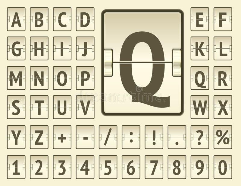 Alfabeto audace del bordo di vibrazione dell'aeroporto per la partenza di volo o la rappresentazione di informazioni di arrivo Il illustrazione vettoriale